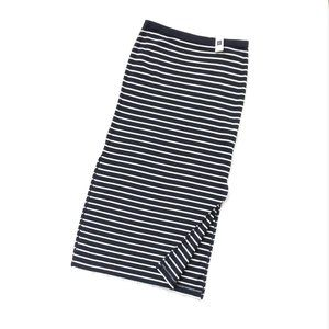 Gap Navy Knit Stripe Cotton Summer Skirt Vents NWT